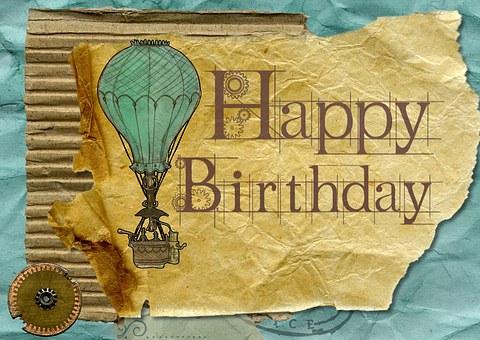 Happy Birthday, Greeting, Card, Grunge, Vintage