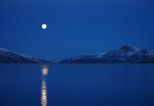 Sky, Nature, Winter, Snow, Landscape, Full Moon, Norway