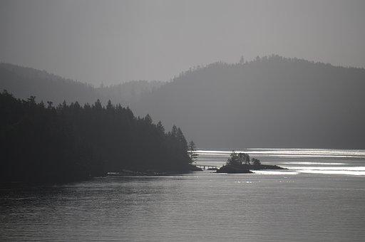Water, Fog, Mountain, Landscape, Ocean