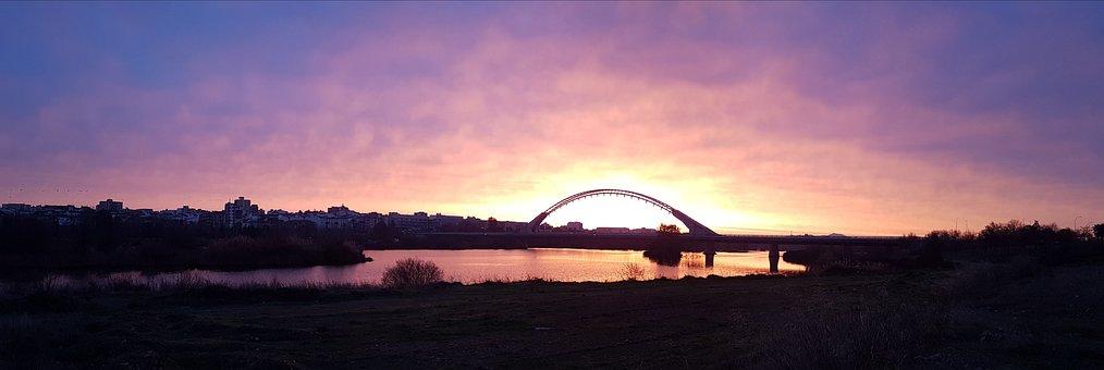 Dawn, Panoramic, Body Of Water, Panoramic Image, Merida