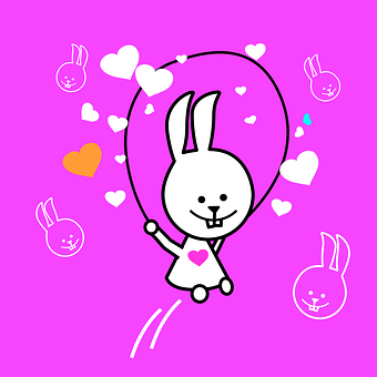 Bunny, Playing, Pink Background, Bunnies, Rabbits