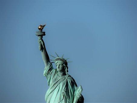 Sky, Statue, Sculpture, Art, Travel, Newyork