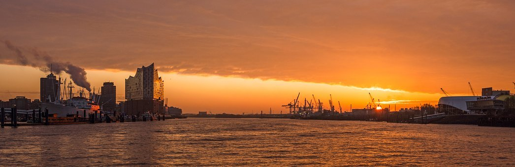 Sunset, Dawn, Panorama, Sun, Waters, Hamburg, Germany