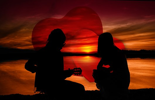 Sunset, Pair, Man, Woman, Guitar, Guitar Player