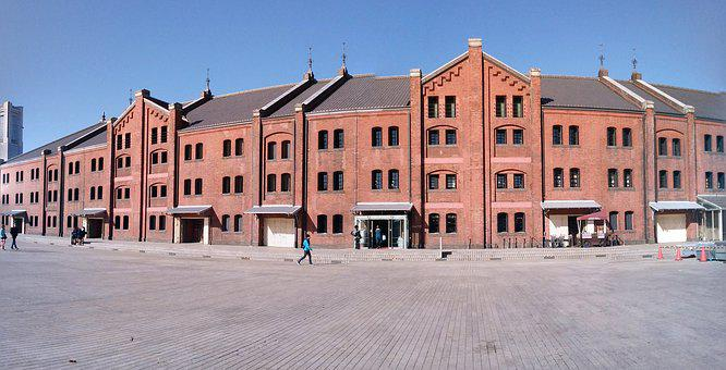 Yokohama, Red Brick Warehouse, Blue Sky, Fine Weather