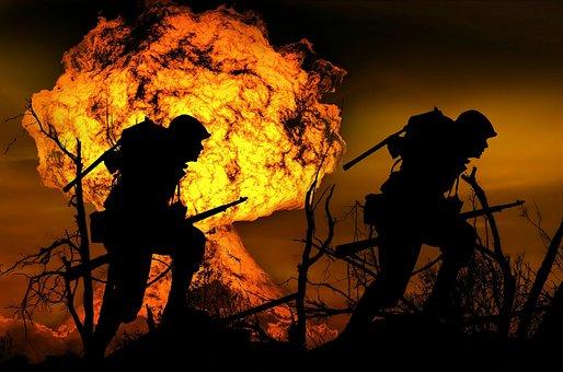Explosion, War, Soldier, Run, Attack, Silhouette