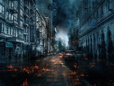 City, Street, Travel, Urban, Reflection, Dark, Building