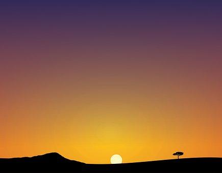 Sunset, Dawn, Sky, Sun, Silhouette, Moon, Outdoors