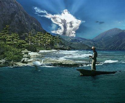 Scenic, Ocean, Fisherman, Water, Mountain, Dramatic