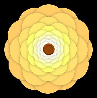 Flower, Ornament, Mustard, Yellow, Ochre, Dark, Brown