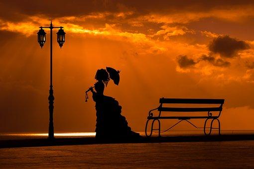 Sunset, Woman, Bench, Lantern, Lamp, Silhouette