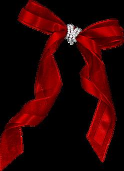 Satin, Christmas, Gift, Bow, Thread, Knot, Isolated