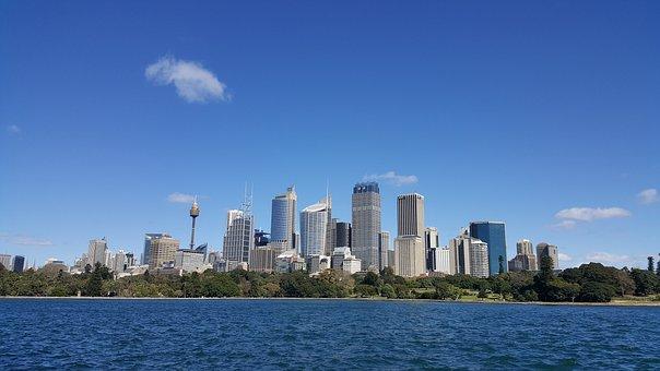 City, Sydney, Sky, Blue, Clean, Water, Skyscraper