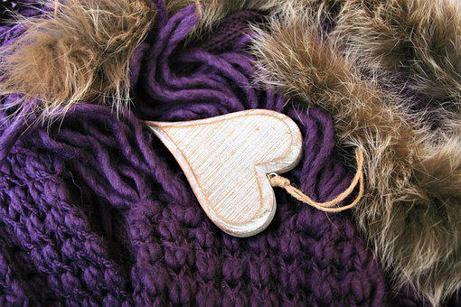 Heart, Violet, Wood, Color, Wool, Fluffy, Style