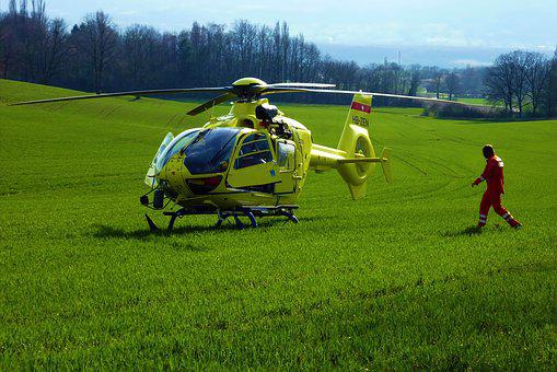 Helicopter, Field, Grass, Lawn, Laid, Yellow, Green