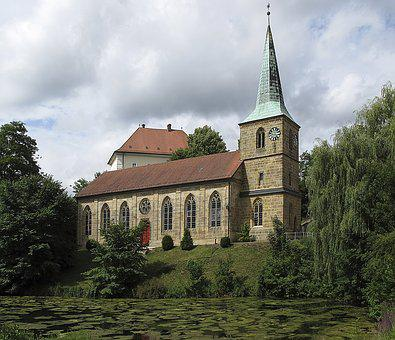 Church, Steeple, Extinguishing Pond, Architecture