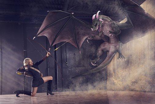 Danger, Woman, Bow, Black, Arrow, Dragon, Blonde, Kill