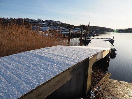 Winter, Bridge, Sea, Snow, Coastal