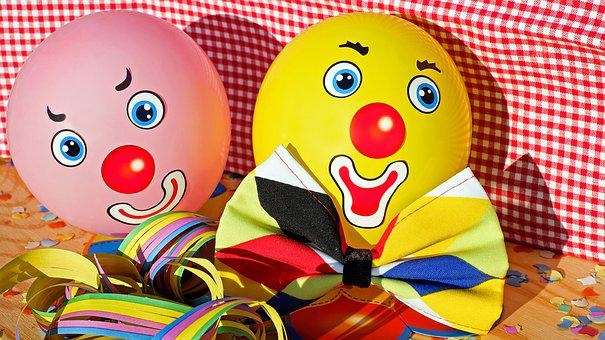 Clowns, Faces, Funny, Color, Colorful, Ballons