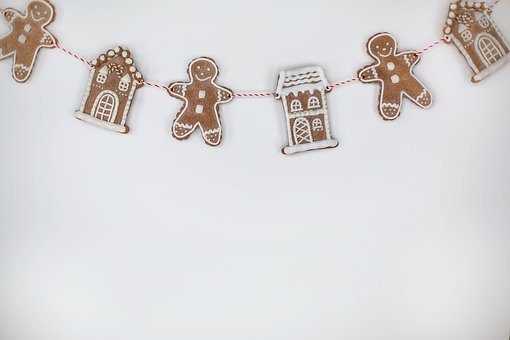 Gingerbread Men, Houses, Background, Text Space, Border