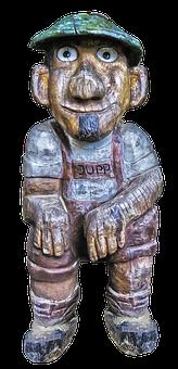 Sculpture, Holzfigur, Man, Jupp, Cap, Sitting, Male
