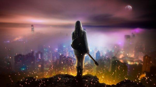 Night, City, Evening, Sunset, Sky, Light, Dusk, Fire