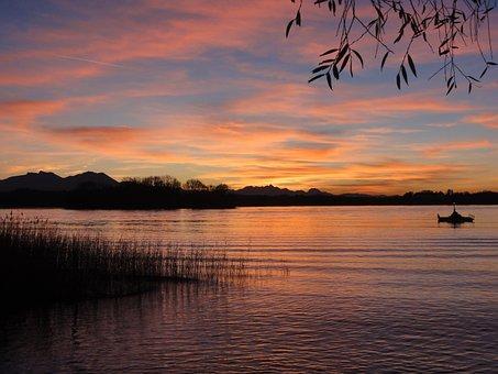 Sunset, Waters, Lake, Chiemsee, Bavaria, Nature