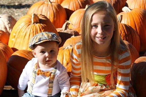 People, Child, Boy, Girl, Pumpkin, Fall