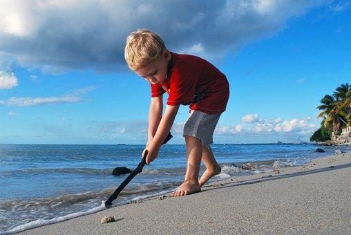Boy, Sand, Sea, Summer, Beach, Water, Toddler, Playing