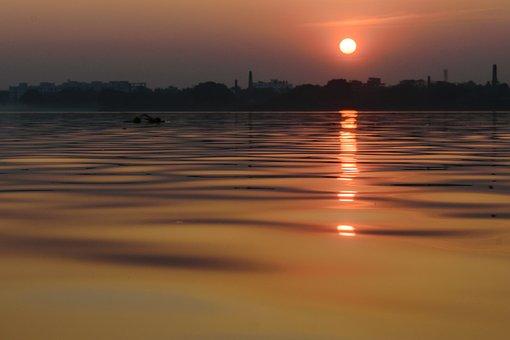 Sunset, Dawn, Water, Dusk, Sun, Evening, Reflection