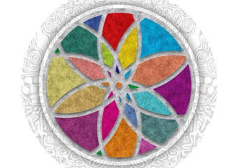 Mandala, Colors, Floral, Flower, Texture, Stained Glass
