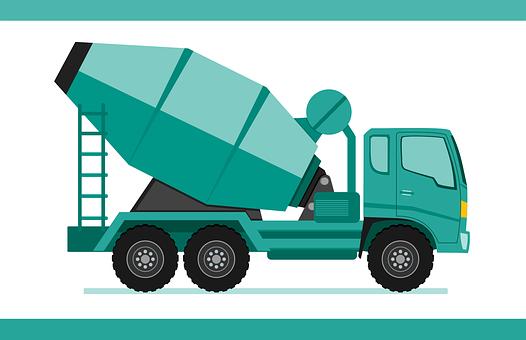 Truck, Concrete Mixer Truck, Heavy, Construction