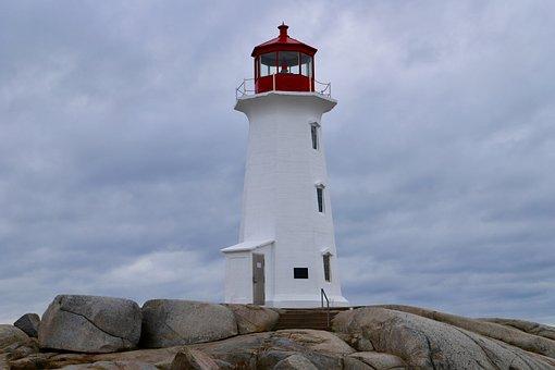 Lighthouse, Sky, Travel, Coast, Sea, Canada, Atlantic