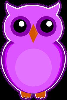 Owl, Purple, Bird, Cute, Animal, Nature, Sweet, Happy