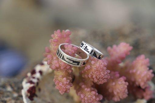 Close, Sea, Coral, Wedding Rings