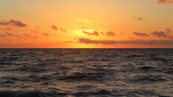 Sunset, Body Of Water, Sea, Dawn, Sun, Almeria, Beach