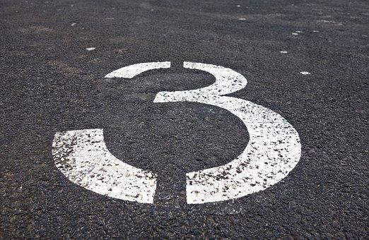 Three, Number, Digit, Numeral, Symbol, Sign, Tarmac