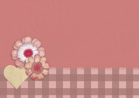 Background, Pink, Flower, Gingham, Romantic, Heart