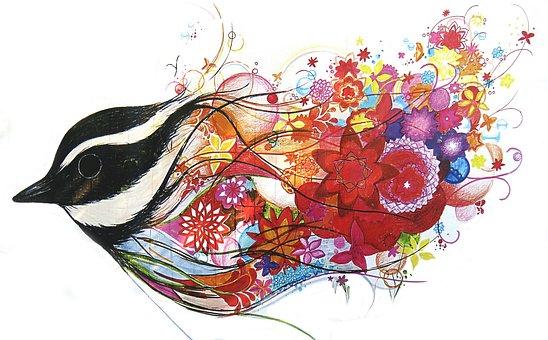 Graphic, Painting, Construction Fence, Rainbow, Bird