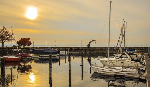 Langenargen, Lake Constance, Port, Shipping, Sunset