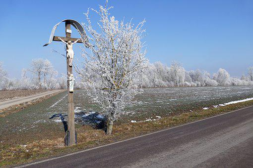 Wayside Cross, Ripe, Road, Winter, Snow, Nature, Tree