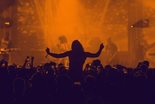 Music, Silhouette, Concert, People, Audience
