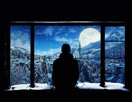 Window, Nature, Snow, Winter, Sky, Silhouette