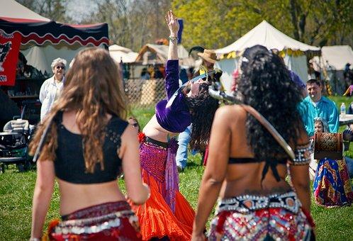 Belly Dancing, Dancer, Faire, Sword, Woman, Watching