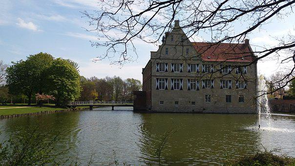 Moated Castle, Architecture, Waters, Lake, Tree