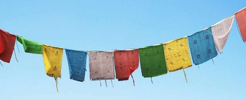 Flags, Prayer Flags, Sky, Buddhism, Prayer, Believe