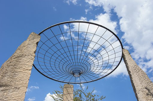 Sky, Wire Cup, Grid, Clouds Form, Blue Sky, Cosmology