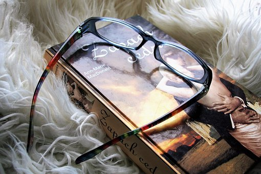 Glasses, Reading, Closeup, Book, Reflection, Romance