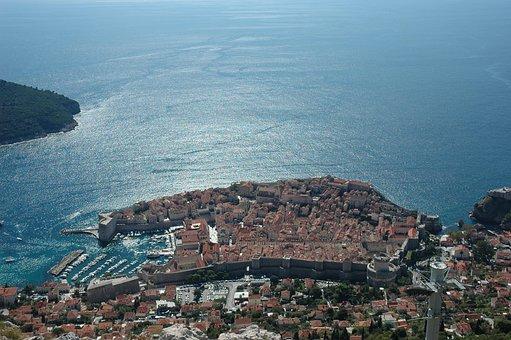 Croatia, Dubrovnik From Above, Sea, Coast, Waters