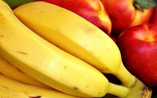Fruit, Bananas, Nectarines, Healthy, Vitamins